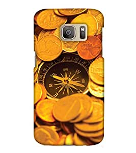 PrintHaat Designer Back Case Cover for Samsung Galaxy S7 :: Samsung Galaxy S7 Duos :: Samsung Galaxy S7 G930F G930 G930Fd (compass :: gold coins :: compass with the bunch of gold coins in golden and brown)