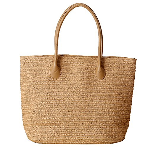 Butterme Borsa di tela della borsa della spalla della spiaggia della spiaggia di estate della spiaggia della spiaggia di estate della spiaggia della spiaggia di Rattan Marrone chiaro