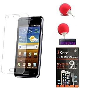 iKare Pack of 2 Premium Shatter Proof Tempered Glass Ultra Clear Screen Protector for Asus Google Nexus 7 1st Generation 2012 + 3.5mm Audio Dock Sponge Speaker