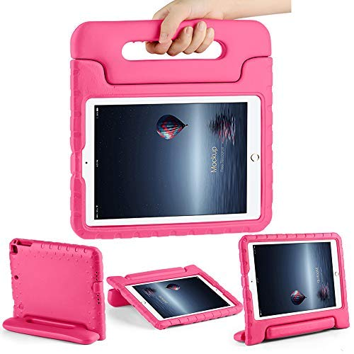 iPad Fall 9,72017mit Ständer Faltbare Weich stoßfest iPad Air Air 2Cover Griff Schutz Rosa Hot Pink ()
