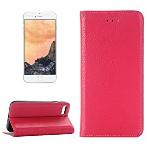 Crazy4Gadget For iPhone 7 Lichee Texture Horizontal Flip Genuine Leather Case with Holder & Card Slots & Wallet (Magenta)