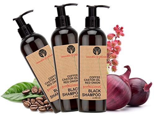 Schwarzes Koffein-Shampoo, Rizinusöl und roter Zwiebel Extrakt Anti Fall Nachwachsen der Haare Anti-Lösung regt das Haarwachstum Pack 3 x 200 ml -