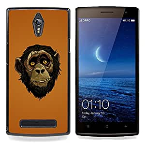 Omega Covers - Snap on Hard Back Case Cover Shell FOR OPPO FIND 7 - Friendly Ape Monkey Chimpanzee