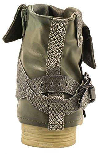 Elara Damen Biker Boots | Metallic Prints Schnallen | Nieten Stiefeletten Lederoptik | Gefüttert Grün Sydney