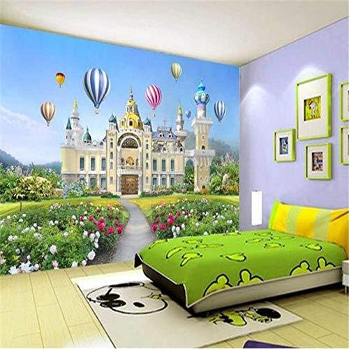 Blätter Blau-tapeten (WORINA Fototapeten 3D Luxus Europäischen Schloss Wandbilder für Kinder Blumen Blatt Tapeten Blauer Himmel für Wohnzimmer Kinderzimmer 250x175_cm_ (98.4_by_68.9_in_) _)