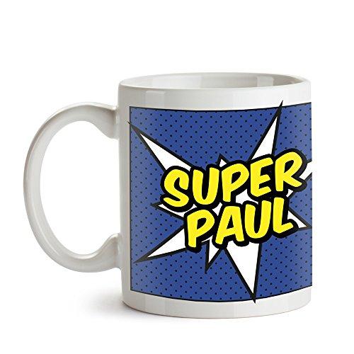 Tasse mit Comic-Aufdruck - Cape - für Männer - Personalisiert mit Namen