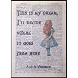 Affiche page de dictionnaire encadrée avec citation - Motif Alice au pays des merveilles - Style vintage