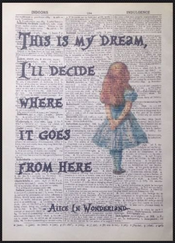 Kunstdruck, Vintage, Wörterbuch mit Zitat aus Alice im Wunderland