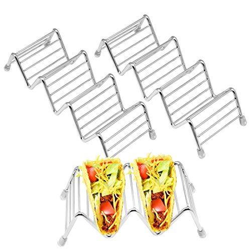 SelfTek 3 Stück Taco Halter 2 Größen Edelstahl Taco Ständer Taco Rack Halten Sie 2 oder 3 oder 4 harte oder weiche Taco Shells
