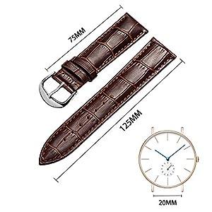 omyzam correa de reloj de auténtica piel de vacuno Replacement Reloj Banda 14mm 16mm 18mm 20mm 22mm 24mm 26mm marca omyzam