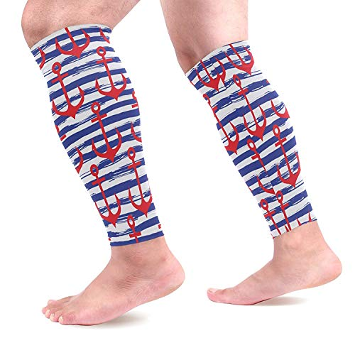 Wfispiy Red anchor Blue Striped Sports Compression Sleeves Leg Performance Support Shin Splint, Calf Pain Relief - Men, Women, Runners -