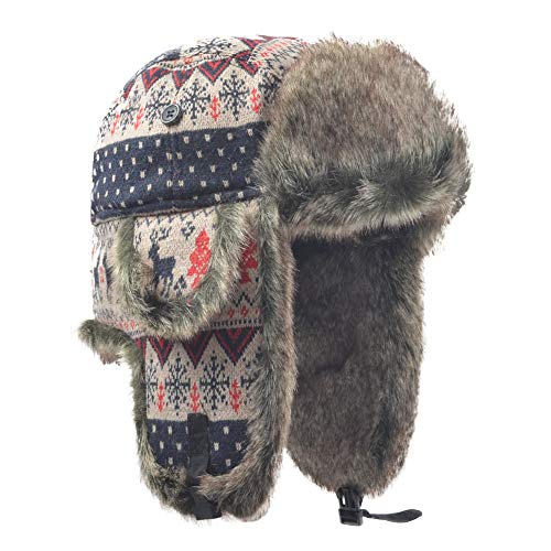 Janey Rubbins Russian Soviet Ushanka Cossack Aviator Bomber Hat Winter Fur  Earflap Cap (Medium 88e45f7008dc