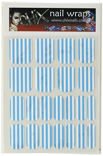 Chix Nails Stripes Minx - Adhesivos de vinilo para uñas, diseño de rayas, color azul y blanco