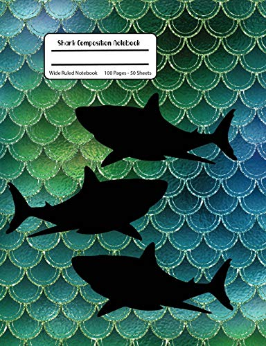 Shark Composition Notebook: Green Sparkle Composition Book,Wide Ruled, Student Teacher School,100 Pages, 7.44x9.69 -