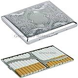 Polish Metall Doppelseitig Zigarettenetui ~ silber Metall Gravur Design, Edelstahl, Ornate Design Cigarette Case, 9.4cm(L) X 1.8cm(H) X 8.8cm(W) cm