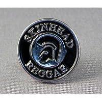 Spilla in metallo smaltato con Skinhead Reggae Ska Trojan, colore: argento, nero
