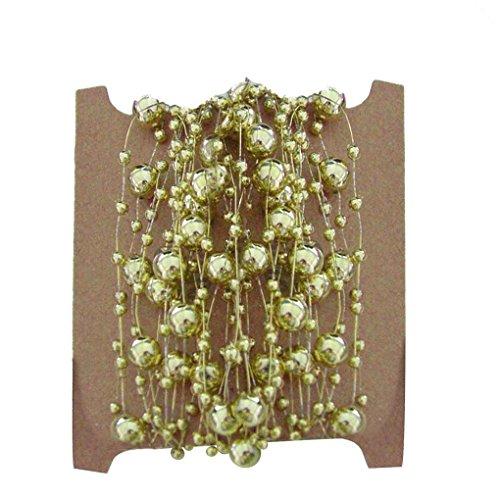 Kakiyi Faux-Perlen Kunststoff-Perlen auf Einer Schnur Craft Rolle Metallic Gold für Weihnachten