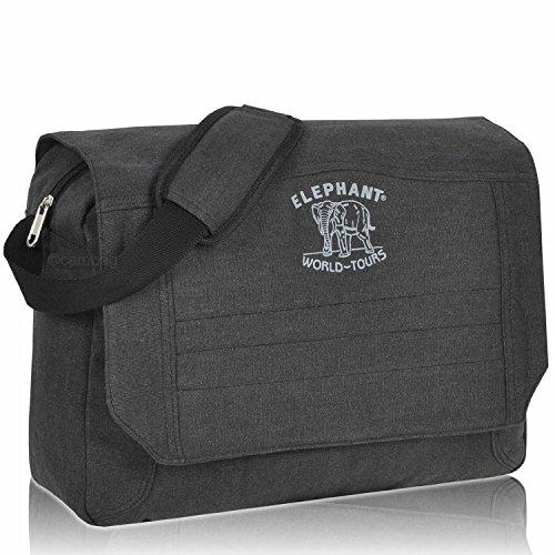 Fach Messenger Bag (ELEPHANT Messenger CUBANGO BAG Umhängetasche Canvas Tasche FARBAUSWAHL (Schwarz))