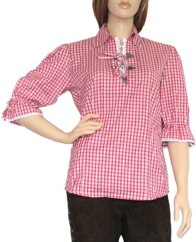 Trachtenbluse Damen Trachten lederhosen-bluse Trachtenmode ROT kariert, Größe:38