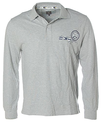 Kitaro Herren Langarm Shirt Poloshirt Pikee Bahamas Sailing Grau Melange