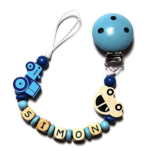 Baby Schnullerkette mit Perlen aus Holz und SIMON. Blau mit Traktor und Auto Simon Holz