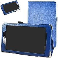 """vodafone smart tab mini 7 / ALCATEL pixi 4 7 Funda,Mama Mouth Slim PU Cuero Con Soporte Funda Caso Case para 7"""" vodafone smart tab mini 7 / ALCATEL pixi 4 7 Android Tablet 2016,Azul oscuro"""