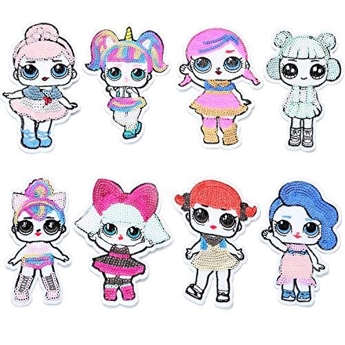 LOL Bambole Sorpresa Toppe Termoadesive con paillettes per Bambini Vestiti Jeans 8 Pcs