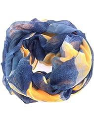 NB24 Damen Loop Schal, Endlosschal, blau-grau mit orange-grauen Blüten (281), Damenbekleidung, Damenschal, Tuch