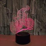 luce di notte Mountain bike 3D LED, lampada visiva dell'illusione ottica 3D 7 Cambiare colore Tocca l'interruttore/Controllo remoto USB tavolo regalo giocattoli decorazioni