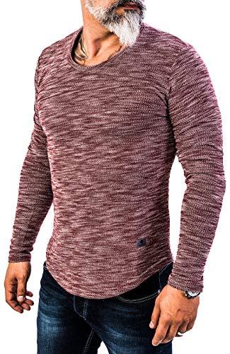 Rock Creek Herren Longsleeve Shirt Langarm Hoodie Sweatshirt Kapuzenpullover Langarmshirt Herrenpulli Street Style H-144 Weinrot XL