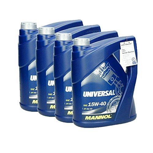 4 x 5 L MANNOL Motoröl 15W40 Universal API SL/CF