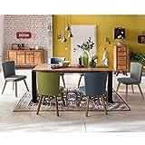 Pharao24 Moderne Esszimmergruppe mit Bunten Stühlen Holztisch (7-teilig)