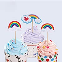 12Pcs/Lot Rainbow Shaped Colrful Color Party Decoration Supplies Cupcake Toppers Kids Birthday Party Favors Decoration Supplies