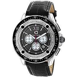 Diamond Watches For Men: Centorum Falcon 0.55ct Chronograph, Black Dial, Leather Band