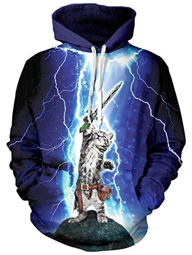 BFUSTYLE Unisex 3D Print Hässliche Weihnachtspullover Beleuchtung Katze Kapuzen Sweatshirt Pullover mit großer Tasche