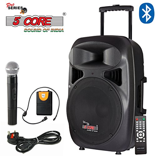 """5 Core 15"""" Active Portable Powered Loudspeaker with 1 Digital Wireless Mike, 1 Head Mic, Full Function Remote Control"""