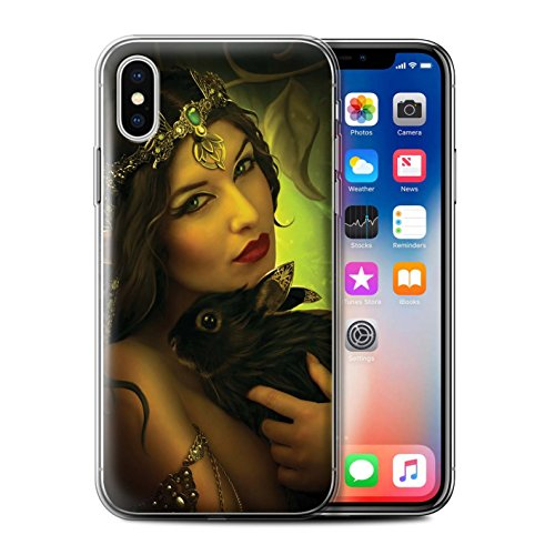 Offiziell Elena Dudina Hülle / Gel TPU Case für Apple iPhone X/10 / Kleopatra/Golden Schlange Muster / Die Tiere Kollektion Waldpaar/Hase
