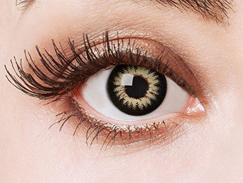 aricona Kontaktlinsen Farblinsen - Big Eyes Circle Lenses – bunte, farbige Manga Kontaktlinsen ohne Stärke – braune Anime Augenlinse, 12 Monatslinsen für Cosplay