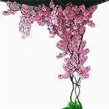Licxcx Fiori Artificiali Cherry Blossom Albero Vite Decorazione della Parete Soggiorno Finto Fiore Rattan soffitto Ramo di plastica Fiore Artificiale, Rosa Rossa Fiore di ciliegio Senza Recinzione