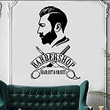 Lglays Barbershop Wall Sticker Barber Shop Fenêtre Decal Logo De Barbier Murale Murale De Cheveux Salon Décor Amovible Vinyle Cheveux Cut Decal56 * 83Cm