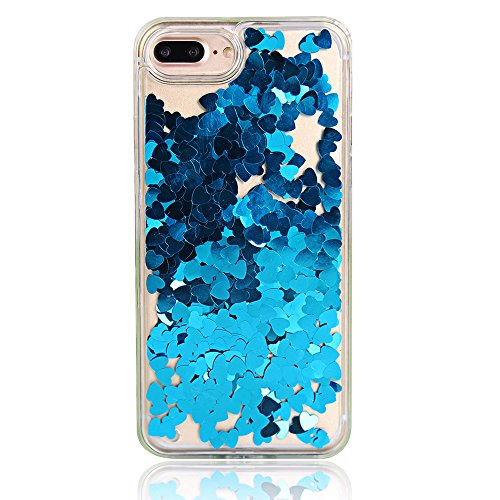 Chiaro Protective Case per Apple iPhone 7Plus 5.5(NON iPhone 7 4.7), CLTPY Particolari Morbida Rubber Doppia Copertina Fashion Luminosa Bello Tough Semplice Shell con Romantico Cuori e Glitter Polve Blue