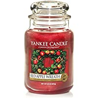 Yankee candle 1120697E Red Apple Wreath Candele in giara grande, Vetro, Rosso, 10.3x10.1x17.7 cm