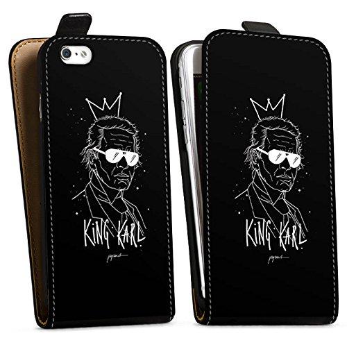 Apple iPhone 6s Plus Hülle Case Handyhülle Karl Lagerfeld Kunst Mode Downflip Tasche schwarz