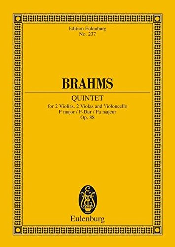 Streichquintett F-Dur: op. 88. 2 Violinen, 2 Violen und Violoncello. Studienpartitur. (Eulenburg Studienpartituren)