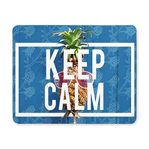 Luancrop Hipster Zitate behalten Ruhe mit Ananas in der Sonnenbrille Rechteck rutschfeste Gummi Laptop Mousepad Mauspads/Mousepads Hülle mit Designs für Office Home Frau Mann Angestellter Chef