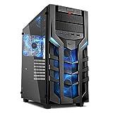 Sharkoon DG7000-G PC-Gehäuse mit extragroßem Seitenfenster aus gehärtetem Glas (2X USB 3.0, 2X USB 2.0, 3X 140 mm LED-Lüfter) blau