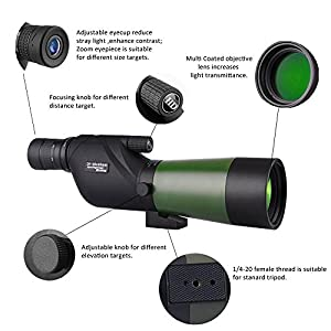 Gosky 20-60X60 Waterproof Spotting Scope- Porro Prism Spotting Scope Bird watching Target Shooting Archery Range Outdoor Activities