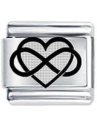 Daisy Charm Corazón Infinito Grabado, Estilo Italiano Personalizable, Regalo Ideal