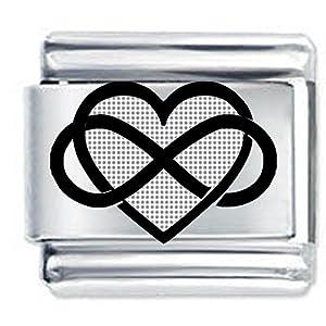 Charm, Design: Unendlichkeitszeichen und Herz, geätzt, italienischer Charme – Standardgröße – Ideales Geschenk