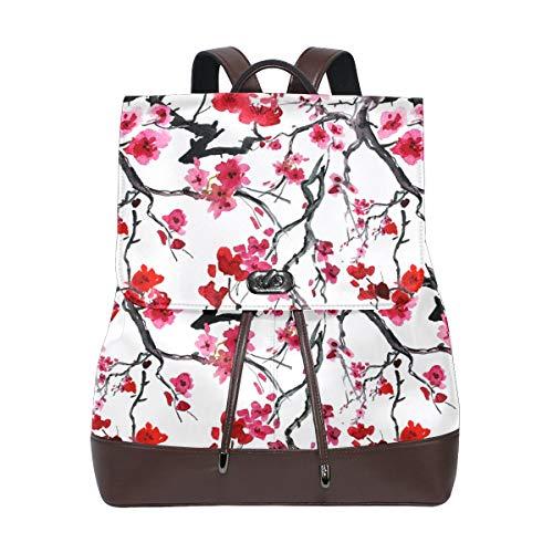 Ahomy - Mochila de piel sintética para mujer, estilo japonés, diseño de flor de cerezo